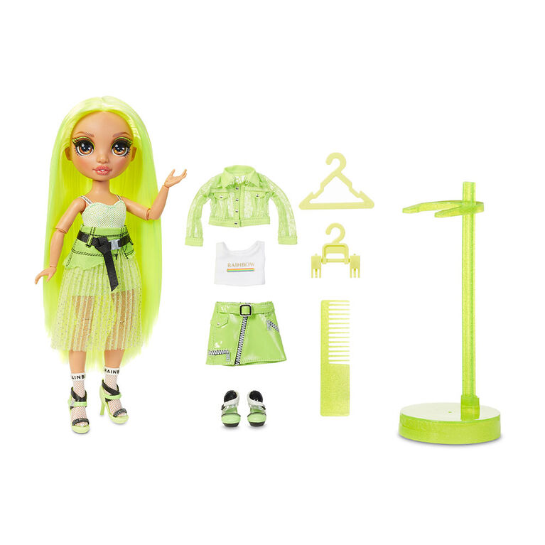 Rainbow High Karma Nichols - Neon Green Fashion Doll with 2 Complete Mix & Match Outfits