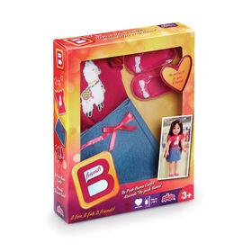 B Friends No Prob-llama Top and Denim Skirt Fashion Clothes for 18-inch Doll