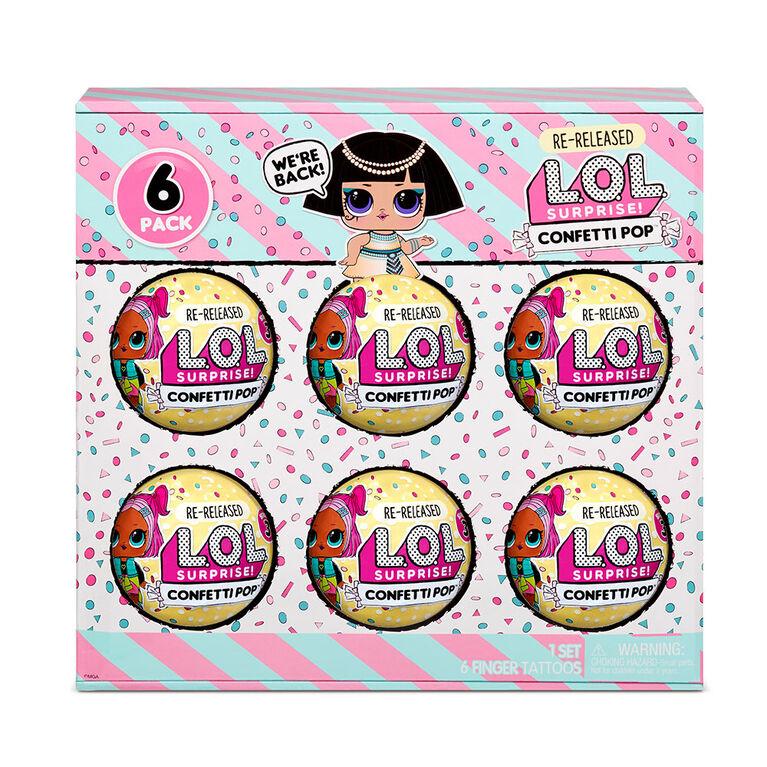 Emballage de 6 poupées Pharaoh Babe L.O.L. Surprise! Confetti Pop: deuxième lancement de 6 poupées, chacune avec 9 surprises - Notre exclusivité