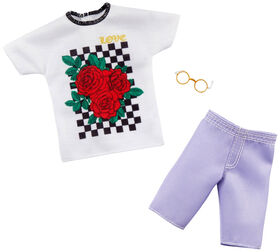 Barbie Clothes -1 Outfit and 1 Accessory for Ken Doll Includes Graphic T-Shirt, Purple Shorts and Eyeglasses