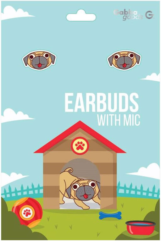 GabbaGoods Earbuds -Pug
