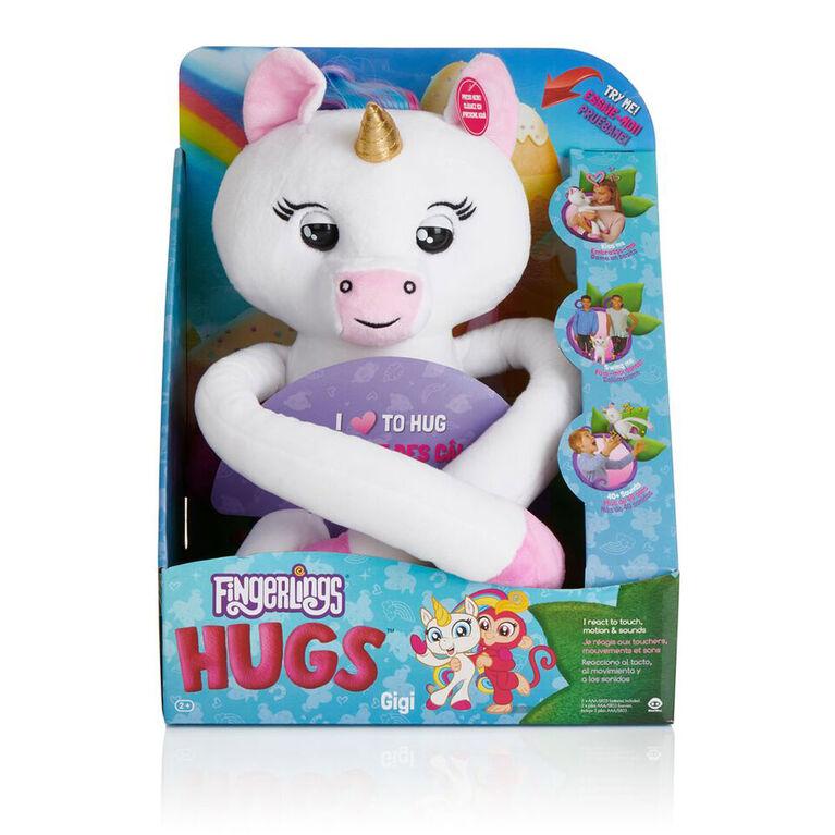 Fingerlings HUGS - Gigi(Blanc) Bébé licorne interactif en peluche avancé. - Notre Exclusivité