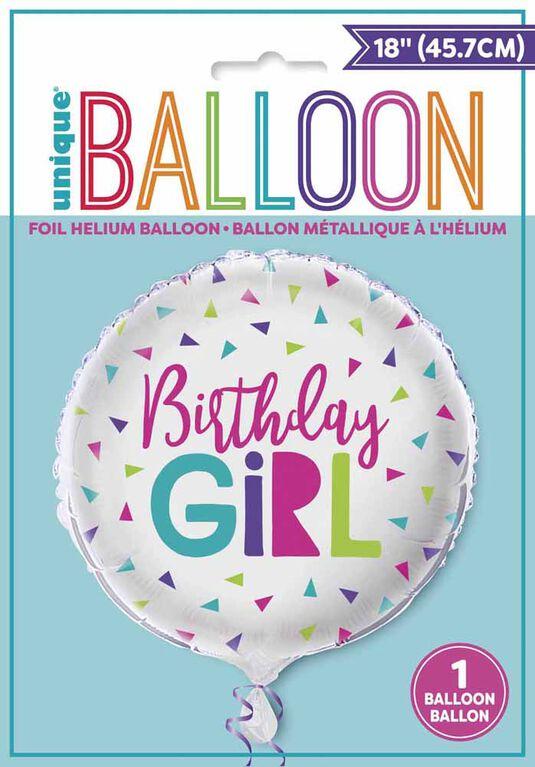 "Ballon aluminium rond, 18 "" - Confetti Birthday Girl - Édition anglaise"