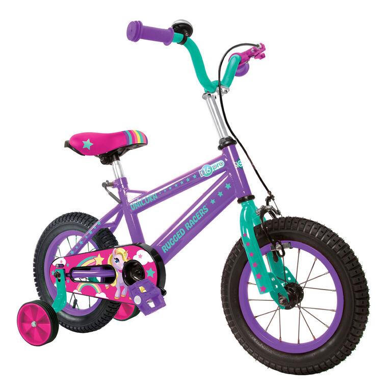 Vélo pour enfants Rugged Racer 16 pouces avec roues d'entraînement - Licorne - Édition anglaise