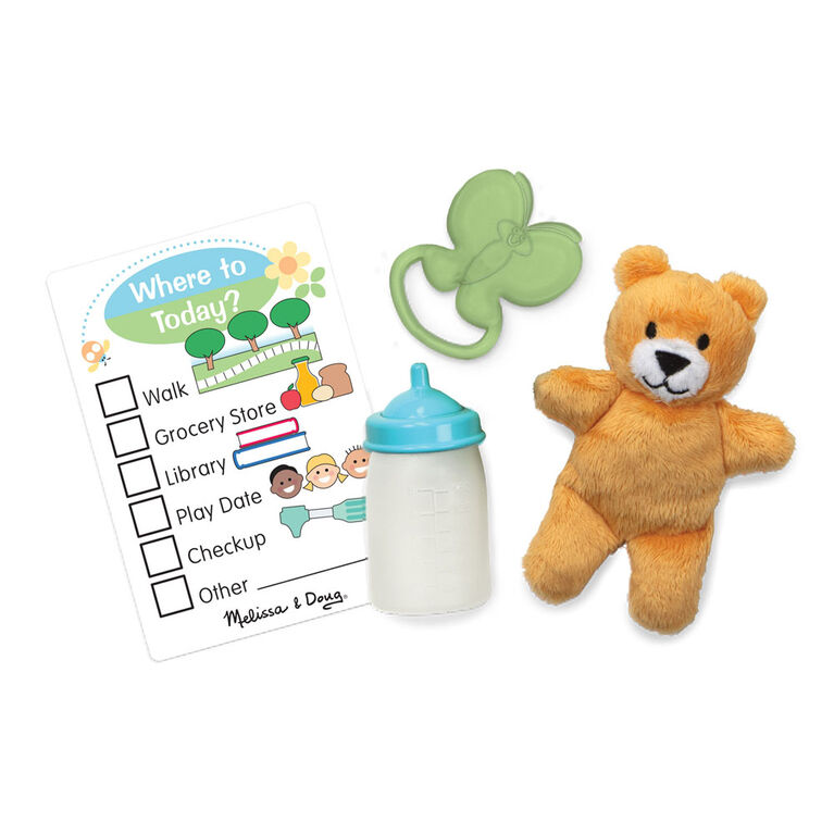 Melissa & Doug - Mine to Love Carrier Play Set for Baby Dolls with Toy Bear, Bottle, Rattle, Activity Card