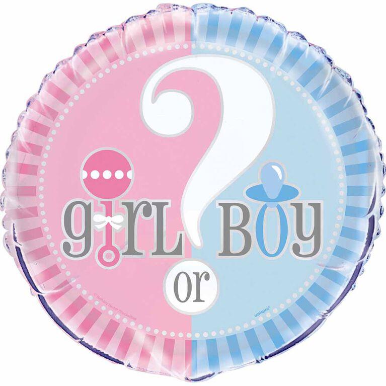"Ballon aluminium rond, 18 "" - Gender Reveal - Édition anglaise"