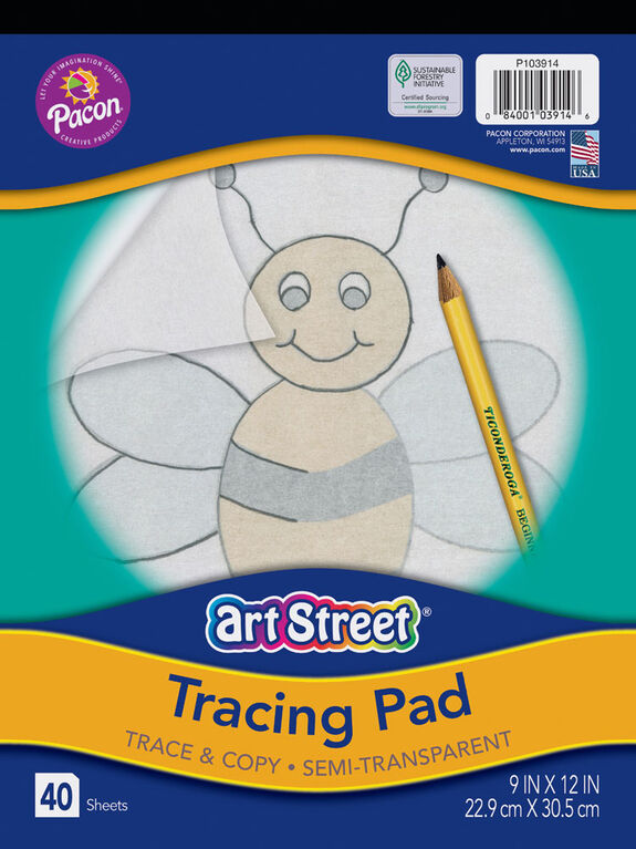 "Art Street Tracing Paper Pad, Translucent, 9"" x 12"", 40 Sheets - English Edition"