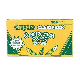 Crayola classpack crayons de cire pour papier construction, paq/400 (16 couleurs)