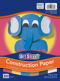 """Art Street Lightweight Construction Paper, 6 Assorted Colors, 9"""" x 12"""", 300 Sheets - English Edition"""