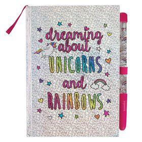 Glitter Journal & Pen: Unicorn/Rainbows