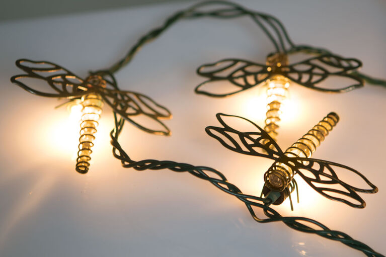 Boutique Home Beaded Dragonfly String Lights
