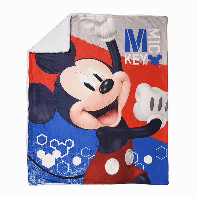 Disney Mickey Mouse Sherpa Throw Blanket, 60 x 80 inches