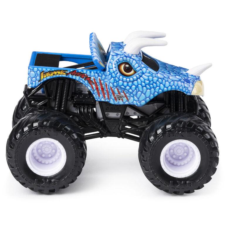 Monster Jam, Monster truck authentique Jurassic Attack en métal moulé à l'échelle 1:64, série Crazy Creatures