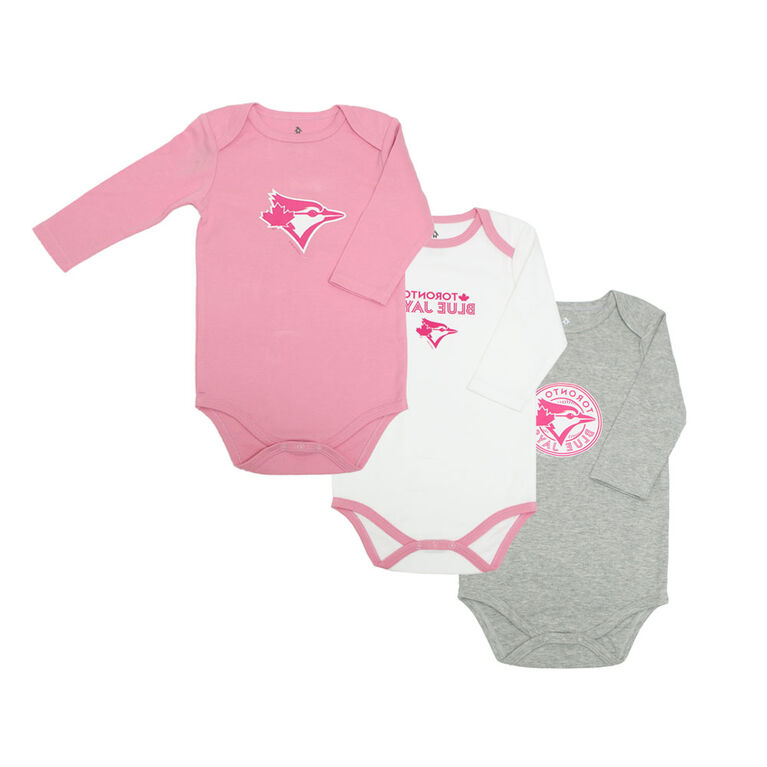 Snugabye Blue Jays 3 Pack Long Sleeve Bodysuits  - Pink, 12-18 Months