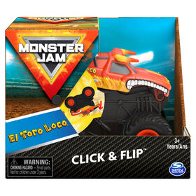 Monster Jam, Official El Toro Loco Click and Flip Monster Truck, 1:43 Scale