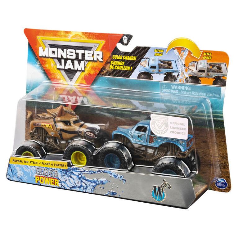 Monster Jam, Official Horse Power vs. Whiplash Color-Changing Die-Cast Monster Trucks, 1:64 Scale