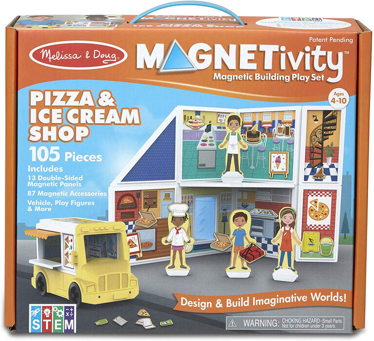 Melissa & Doug 105-Piece MAGNETIVITY Magnetic Building Play Set – Pizza & Ice Cream Shop with Food Truck Vehicle