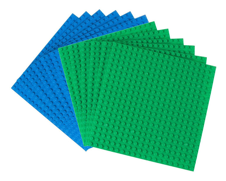 """Strictly Briks - Stackable Baseplates - 6"""" x 6"""" - 20 x 20 pegs - 12 Baseplates - Blue, Green"""