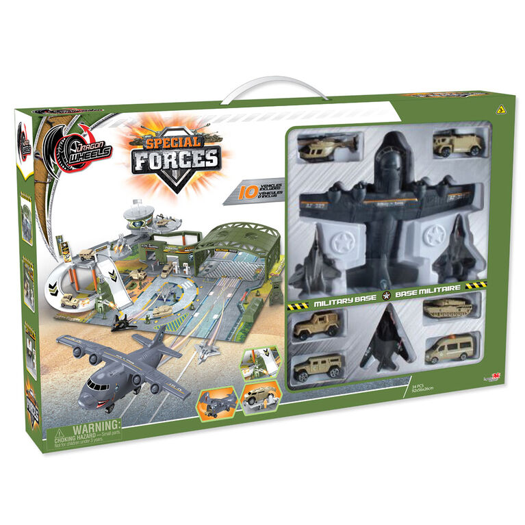 Dragon Wheels - Special Forces Military Base - Includes 10 Vehicles