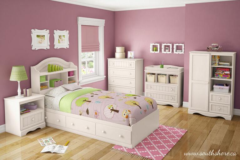 Savannah Tête de lit bibliothèque- Blanc solide