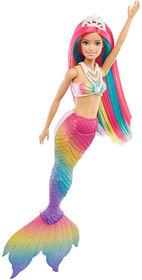 Poupée Barbie Sirène Rainbow Magic Barbie Dreamtopia avec cheveux arc-en-ciel et caractéristique de changement de couleur activé par l'eau