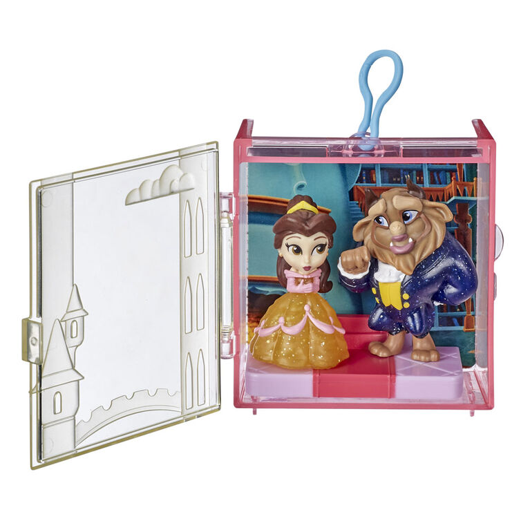 Disney Princess Perfect Pairs Belle, Fun Beauty and the Beast Unboxing Toy with 2 Dolls, Display Case and Stand
