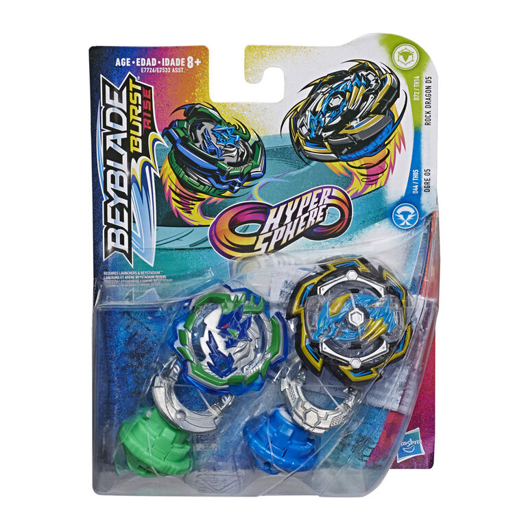 Beyblade Burst Rise Hypersphere Dual Pack Rock Dragon D5 and Ogre O5
