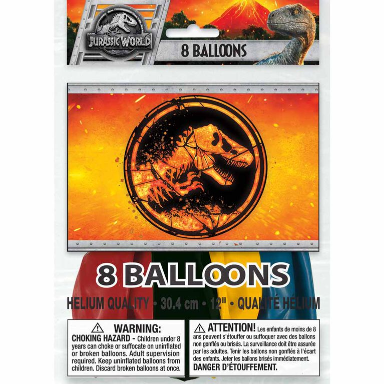 "Jurassic World 12"" Ballons, 8un"