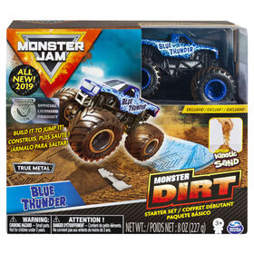 Monster Jam, Blue Thunder Monster Dirt Starter Set, Featuring 8oz of Monster Dirt and Official Monster Jam Truck