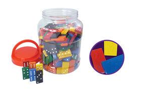 168 Colored Wood Dominoes In Bucket