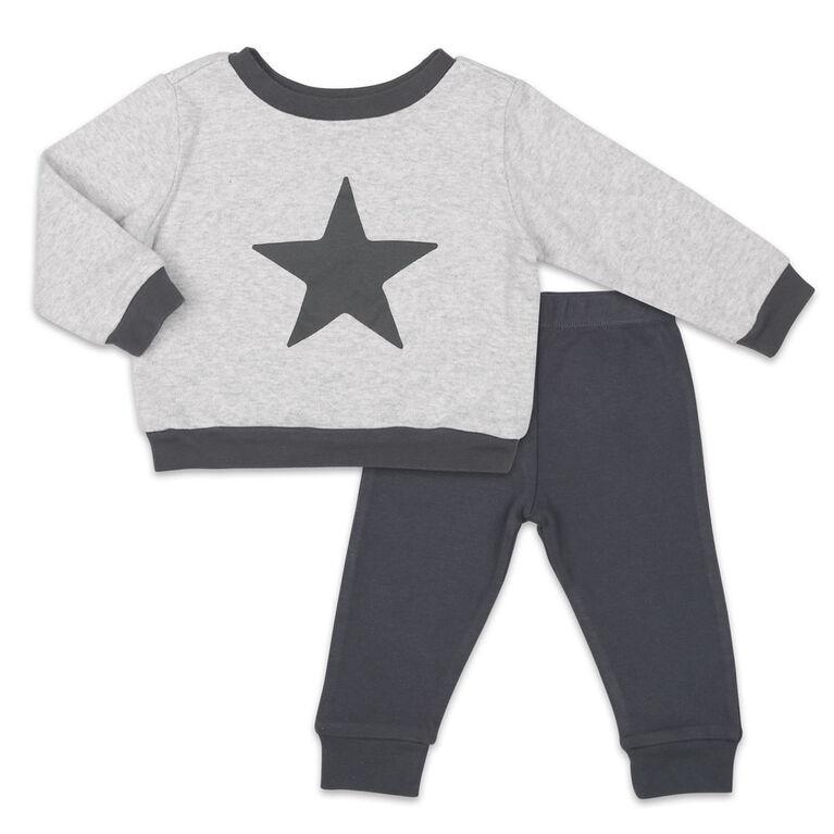 Ensemble Koala Baby chemise et pantalon, gris avec étoile - 6-9 Mois