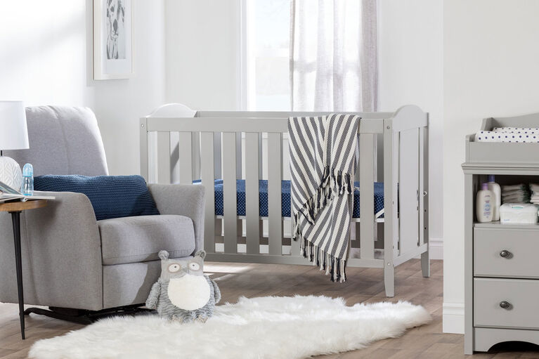 Angel Crib and Toddler Bed - Convertible Nursery Furniture for your Baby- Soft Gray