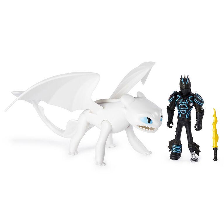 How To Train Your Dragon, Furie Nocturne blanche et Harold, dragon avec figurine Viking en armure.