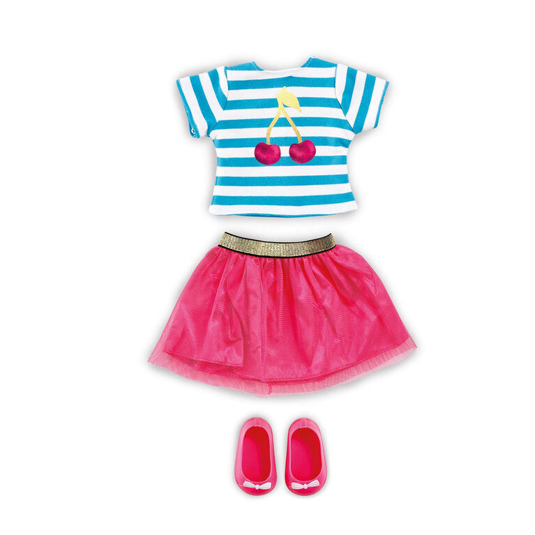 B Friends Cherry Burst T-Shirt and Pink Skirt Fashion Clothes for 18-inch Doll - R Exclusive