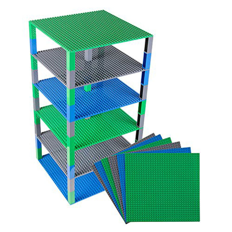 """Strictly Briks - Brik Tower - 10"""" x 10"""" - 32 x 32 pegs - 6 Baseplates & 50 Stackers - Blue, Gray, Green"""