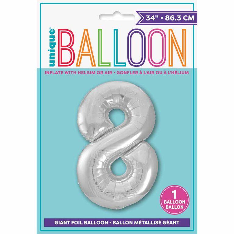 """Ballon en aluminium argenté en forme de nombre 34"""" - 8"""