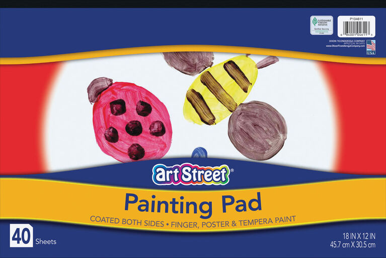 """Art Street Painting Paper Pad, White, 18"""" x 12"""", 40 Sheets - English Edition"""