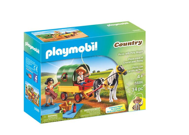 Playmobil - Pique-nique et chariot avec poney