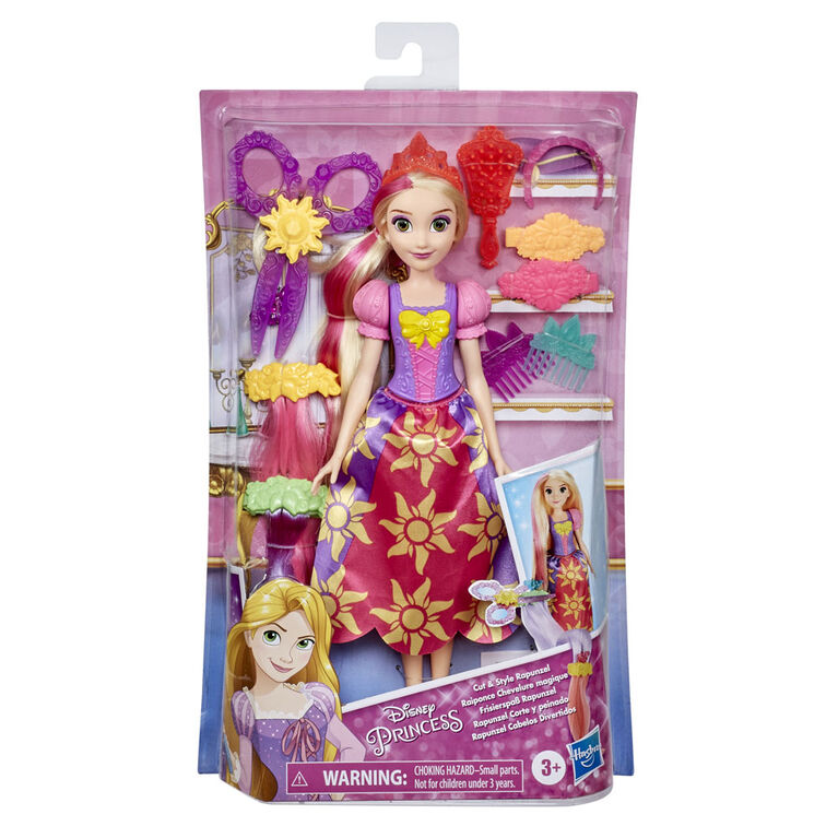 Disney Princess Cut and Style Rapunzel Hair Fashion Doll with Hair Extensions and Accessories