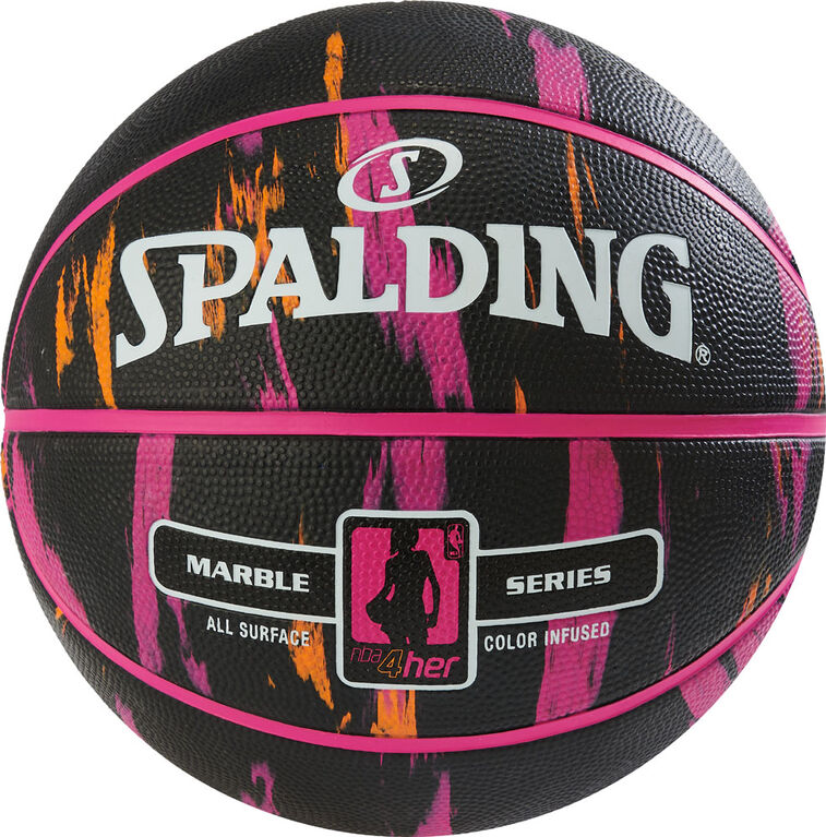 Spalding NBA4her Marbre Noir/Rose/Orange Basket-ball