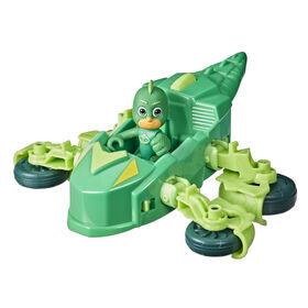 Les Pyjamasques Gluglu, véhicule de luxe, Reptilo-Mobile à 2 modes avec figurine Gluglu
