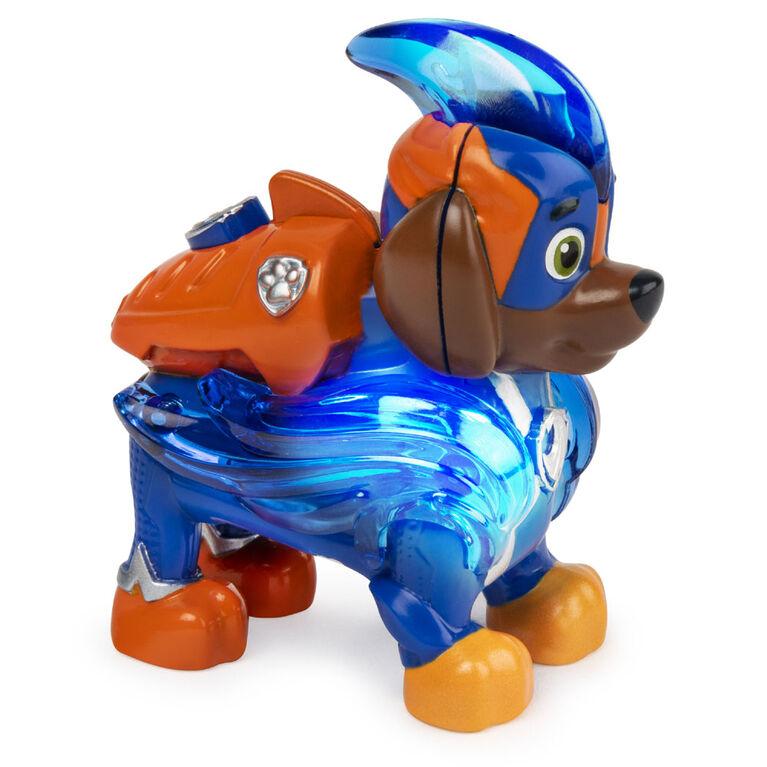 PAW Patrol, Mighty Pups Prêt à foncer, Figurine Zuma à collectionner avec uniforme lumineux