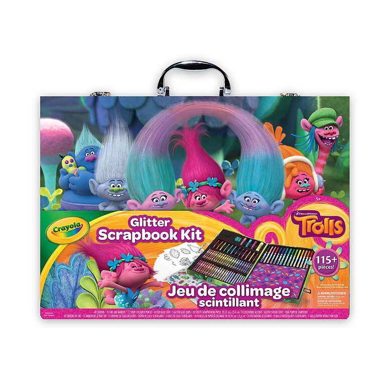 Crayola - Glitter Scrapbook Kit / Art Case, Trolls