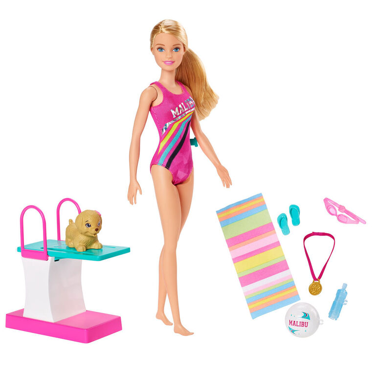 Barbie Dreamhouse Adventures Swim 'n Dive Doll, 11.5-inch in Swimwear, with Diving Board and Puppy