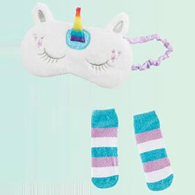 Unicorn Faux Fur Sleep Mask & Socks Set