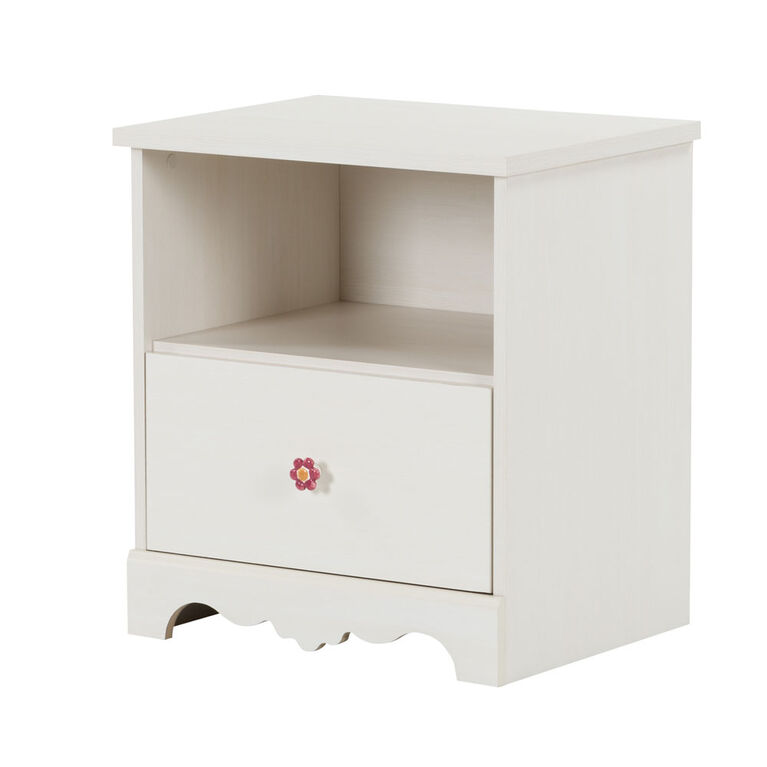 Lily Rose 1-Drawer Nightstand - End Table with Storage- White Wash