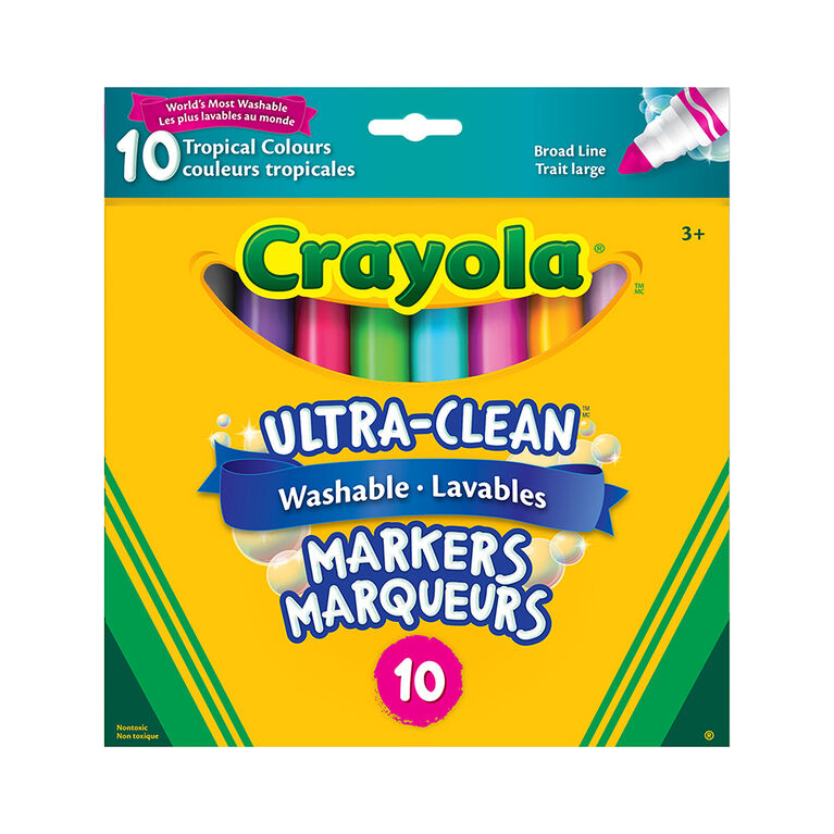 Crayola - 10 ct marqueurs lavables ultra-clean - couleurs tropicales