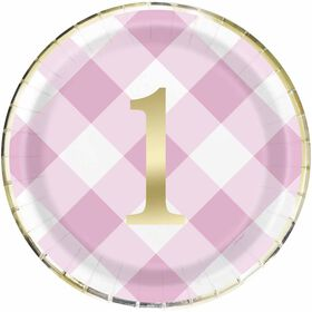Pink Gingham 1st Birthday Assiettes 9po, 8un