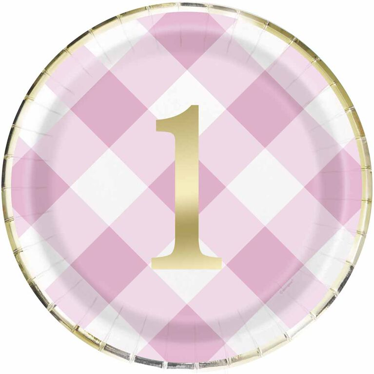 """Pink Gingham 1st Bday 9""""  Plates 8 pieces"""