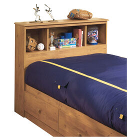 Little Treasures Bookcase Headboard with Storage- Country Pine